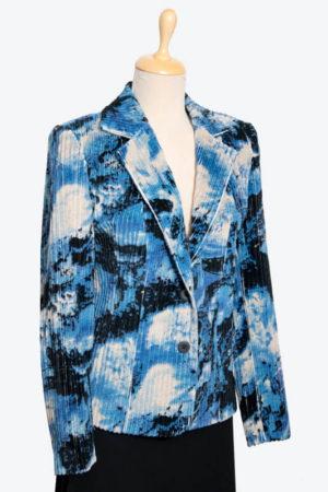 kék mintás kord blézer