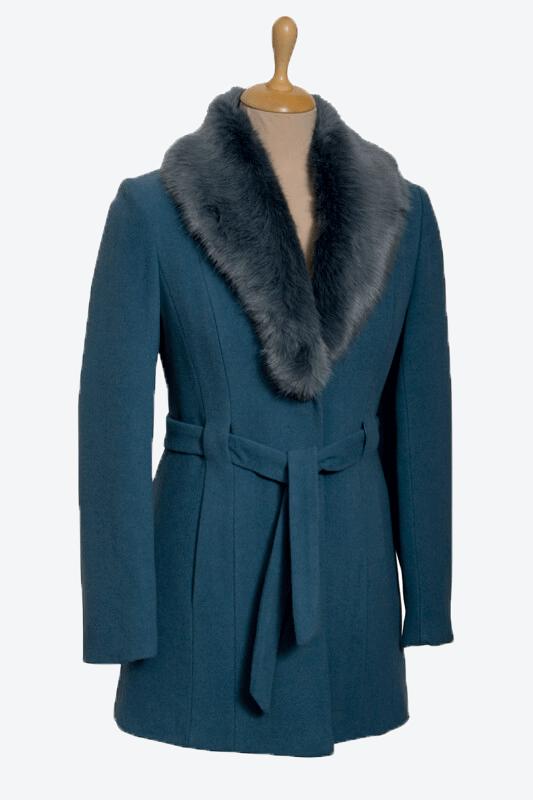 kék női gyapjú szövetkabát