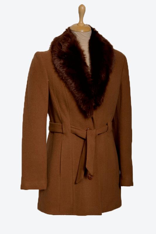 barna női gyapjú szövetkabát