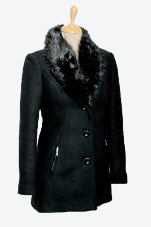 fekete szőrmés galléros női gyapjú szövetkabát