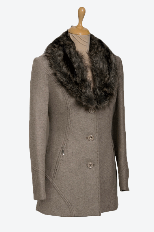 barna szőrmés galléros női gyapjú szövetkabát