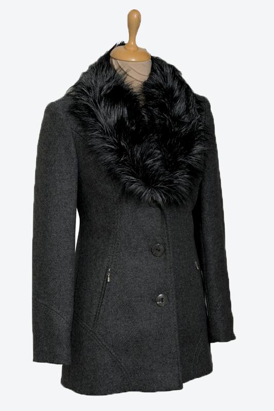 szürke szőrmés galléros női gyapjú szövetkabát