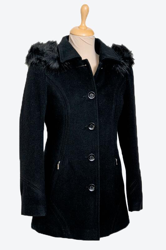 fekete női kapucnis szövetkabát