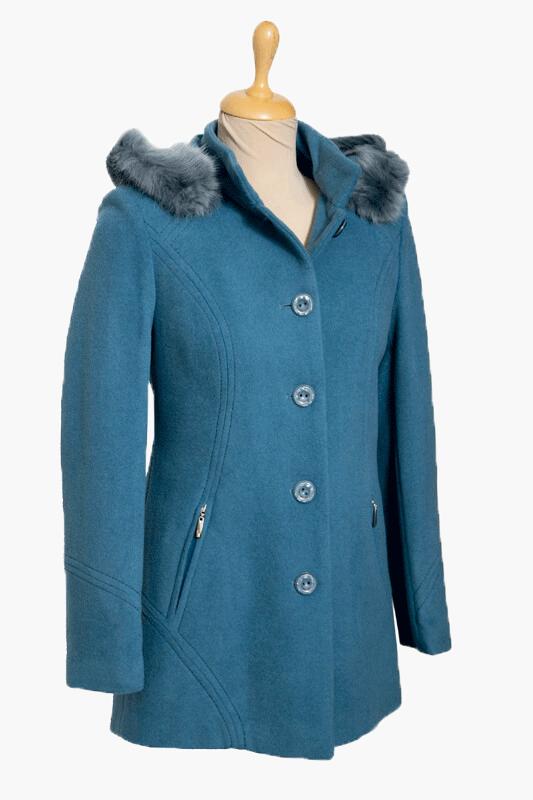 kék női kapucnis szövetkabát