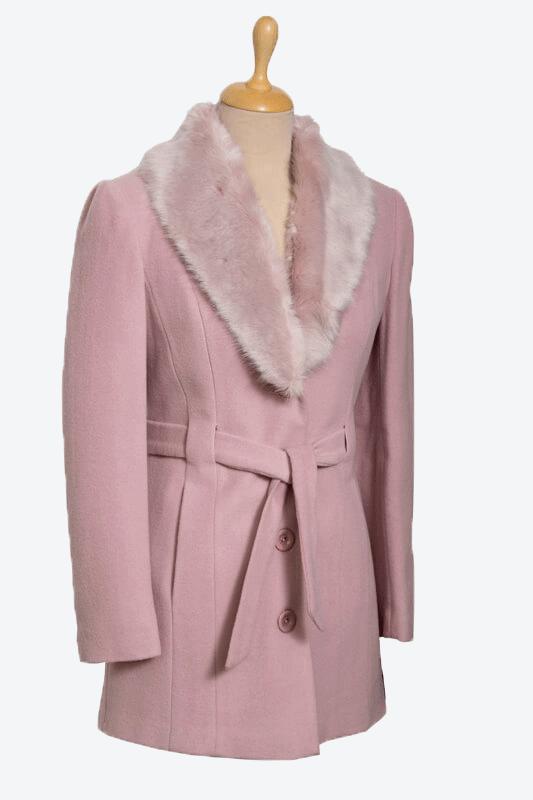 rózsaszín női gyapjú szövetkabát